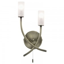Square Acid Glass Wall Light - Antique Brass