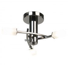 Square Acid Glass Ceiling Light - 3 Light Black Chrome