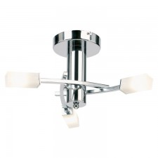 Square Acid Glass Ceiling Light - 3 Light Chrome