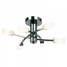 Square Acid Glass Ceiling Light - 6 Light Black Chrome