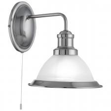 Bistro 1 Light Industrial Wall Brackey, Satin Silver, Marble Glass Shade, Satin Silver Trim
