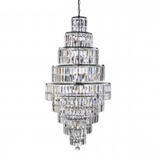 Empire Chrome Chandelier - 13 Light, Crystal Clear Glass