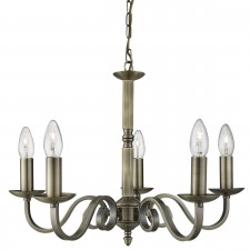 Richmond 5 Light Ceiling Pendant Scroll Arms Detail, Antique Brass