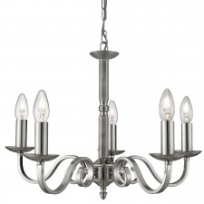 Richmond 5 Light Ceiling Pendant Scroll Arms Detail, Satin Silver