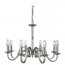 Richmond 8 Light Ceiling Pendant Scroll Arms Detail, Satin Silver