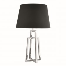 Table Lamp Crossed Frame, Chrome, Black Tapered Shade