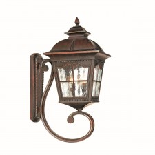 Pompeii IP44 Outdoor Wall Lantern - Cast Aluminium, Brown Finish