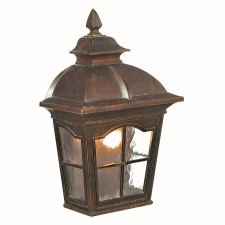 Pompeii IP44 Flush Outdoor Wall Lantern - Cast Aluminium, Brown Finish