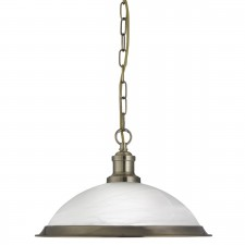 Bistro 1 Light Industrial Pendant Antique Brass, Marble Glass Shade, Antique Brass Trim