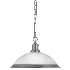 Bistro 1 Light Industrial Pendant Satin Silver, Marble Glass Shade, Satin Silver Trim
