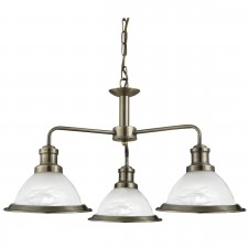 Bistro 3 Light Industrial Ceiling, Antique Brass, Marble Glass Shade, Antique Brass Trim