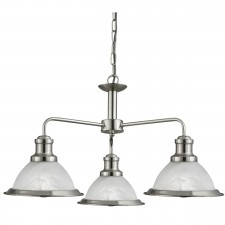 Bistro 3 Light Industrial Ceiling, Satin Silver, Marble Glass Shade, Satin Silver Trim