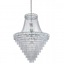 Louis Philipe Crystal - 28 Light Tiered Chandelier, Clear Crystal Dressing, Chrome Frame