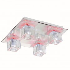 Flush Halogen Ceiling Light - 4 Light, Chrome with Ribber Glass