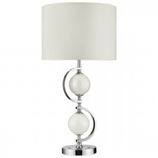Contemporary Table Lamp - Chrome and Glass Complete with Shade
