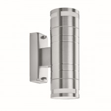 Outdoor & Porch 2 Light Cylinder Up/Downlight Wall Bracket - Stainless Steel