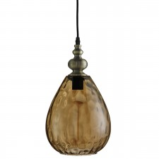 Indiana 1 Light Pendant Antique Brass, Tapered Amber Dimpled Glass Shade