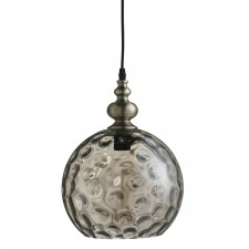 Indiana 1 Light Globe Pendant Antique Brass, Amber Dimpled Glass Shade