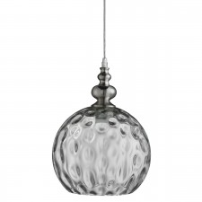 Indiana 1 Light Globe Pendant Satin Silver, Clear Dimpled Glass Shade