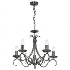 Tied Ceiling Light - 5 Light Antique Silver (shades not included)