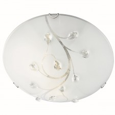Flush Ceiling Light 40cm - Polished Chrome, Beaded Detail