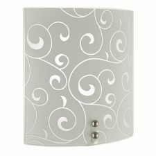 Flush Wall Light 1 Light E27 Acid Floral Swirl Glass