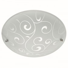 Flush 30Cm White Round Acid Swirl Glass E27