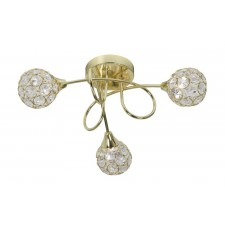 Lana Semi Flush Ceiling Light - 3 Light, Polished Brass