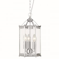 3 Light Indoor Glass Lantern - Chrome