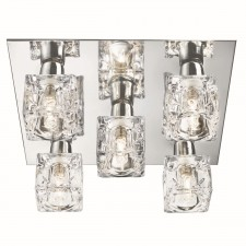 Sculptured Ice Flush Ceiling Light - 5 Light, Satin Silver