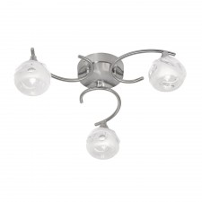 Korra Semi Flush Ceiling Light - 3 Light, Antique Chrome
