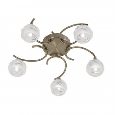 Korra Semi Flush Ceiling Light - 5 Light, Antique Brass