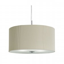Drum Pleated Pendant - 3 Light, Cream with Glass Diffuser