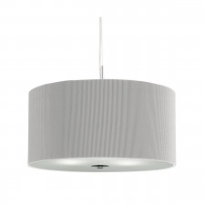 Drum Pleated Pendant - 3 Light, Silver Grey with Glass Diffuser