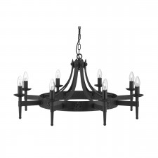 Cartwheel 8 Light Ceiling Light - Iron, Black Finish