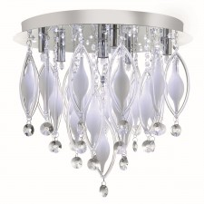 Spindle Glass Flush Ceiling Light - 6 Light, Chrome