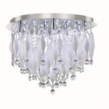 Spindle Glass Flush Ceiling Light - 9 Light, Chrome