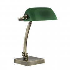 Bankers Desk Lamp - Antique Brass, Green Glass