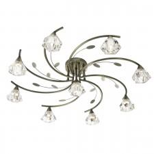 Sierra Semi Flush Ceiling Light - 9 Light, Antique Brass