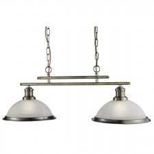 Bistro 2 Light Industrial Ceiling Bar, Antique Brass, Marble Glass Shade, Antique Brass Trim