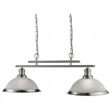 Bistro 2 Light Industrial Ceiling Bar, Satin Silver, Marble Glass Shade, Satin Silver Trim