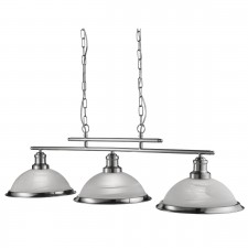 Multiple pendant lights huge range low prices bistro 3 light industrial ceiling bar satin silver marble glass shade satin silver aloadofball Image collections
