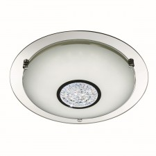 Decorative Small LED Flush Ceiling Light - Chrome with Glass Detail