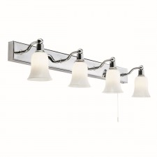 IP44 Bathroom Chrome Wall Bar - 4 Light, Opal Glass