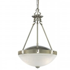 Searchlight Regency Range 2 Light Antique Brass Pendant-Marble Glass