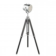 Adjustable Stage Light- Floor Lamp - Chrome Shade/Black Base