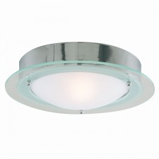 Flush Bathroom Light - Opal & Clear Glass