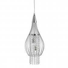 Rocket Single Pendant Light - Chrome, Crystal Glass Detail