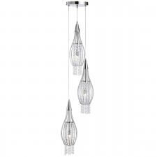 Rocket Multi-drop Pendant Light - Chrome, Crystal Glass Detail