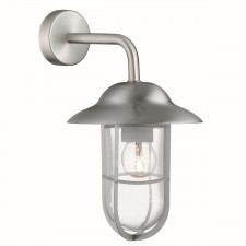 Well Glass Lantern Outdoor Wall Bracket, Satin Silver, Clear Glass Shade